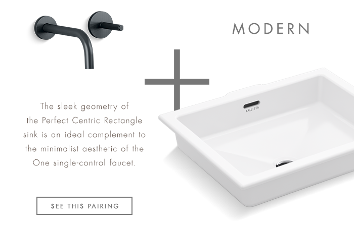 MODERN   |   The sleek geometry of the Perfect Centric Rectangle sink is an ideal complement  to the minimalist aesthetic of the One single-control Faucet. [ SEE THIS PAIRING ]