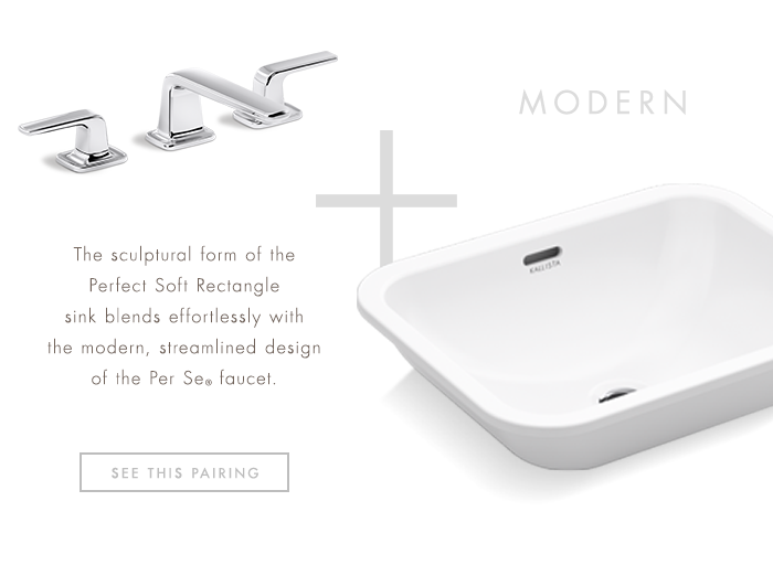 MODERN  |   The sculptural form of the Perfect Soft Rectangle sink blends effortlessly with the modern, streamlined design of the Per Se® faucet. [ SEE THIS PAIRING ]