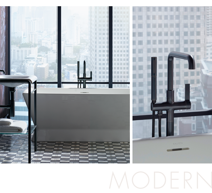 MODERN       Featuring a sleek, tapered design inspired by a bow tie's silhouette, the Papion® freestanding bathtub pairs well with the pure form of the One™ floor-mount bath filler
