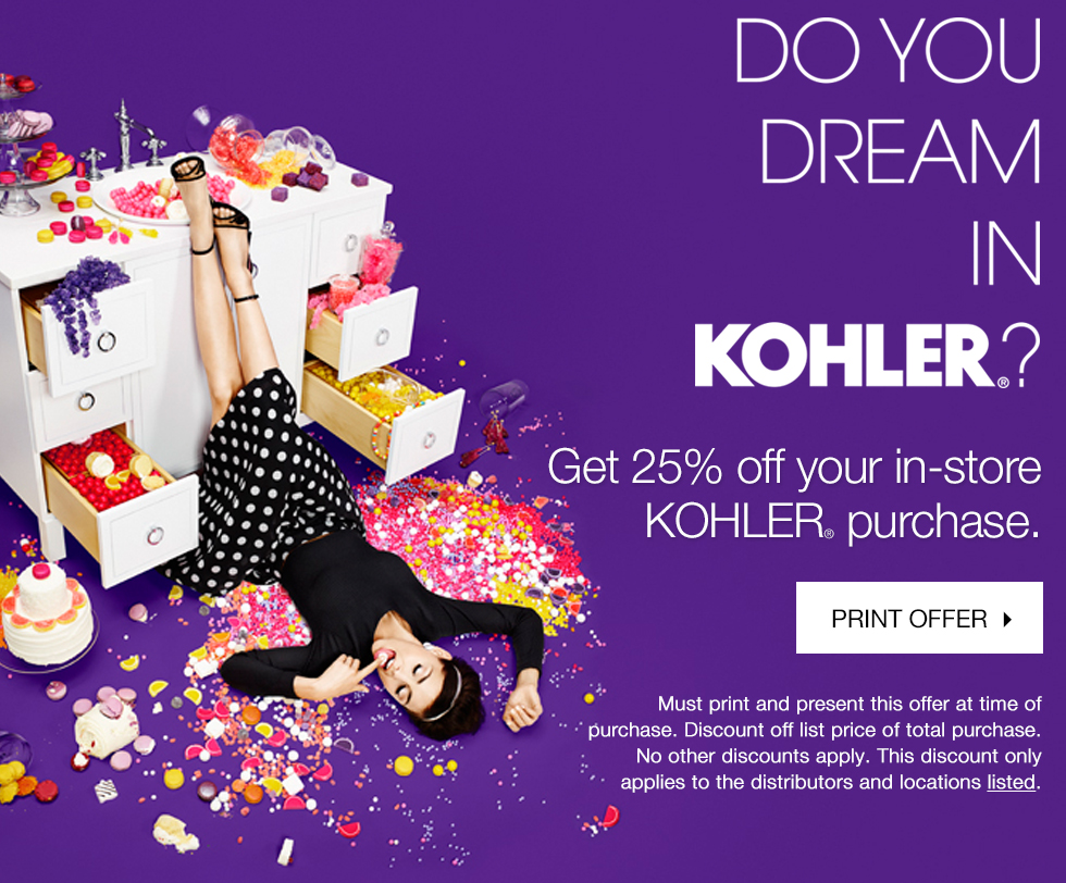 Kohler® | 25% off in-store purchase